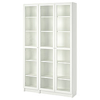 БИЛЛИ / ОКСБЕРГ Шкаф книжный со стеклянными дверьми, белый, 120x30x202 см