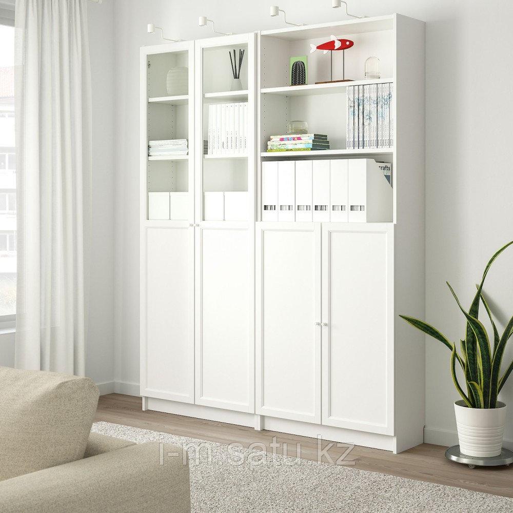 БИЛЛИ / ОКСБЕРГ Стеллаж/панельные/стеклянные двери, белый, 160x30x202 см