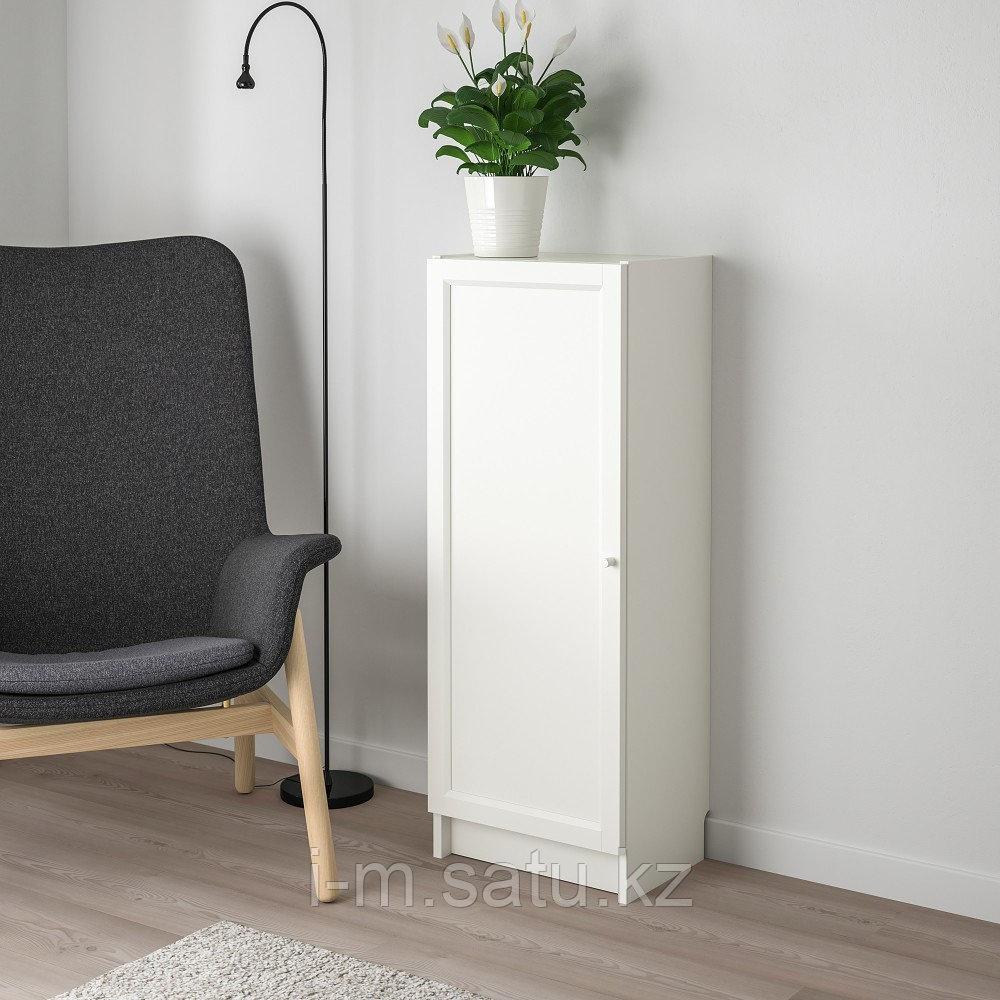 БИЛЛИ / ОКСБЕРГ Стеллаж с дверью, белый, 40x30x106 см