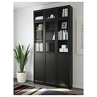 БИЛЛИ / ОКСБЕРГ Стеллаж, черно-коричневый, стекло, 120x30x237 см, фото 1