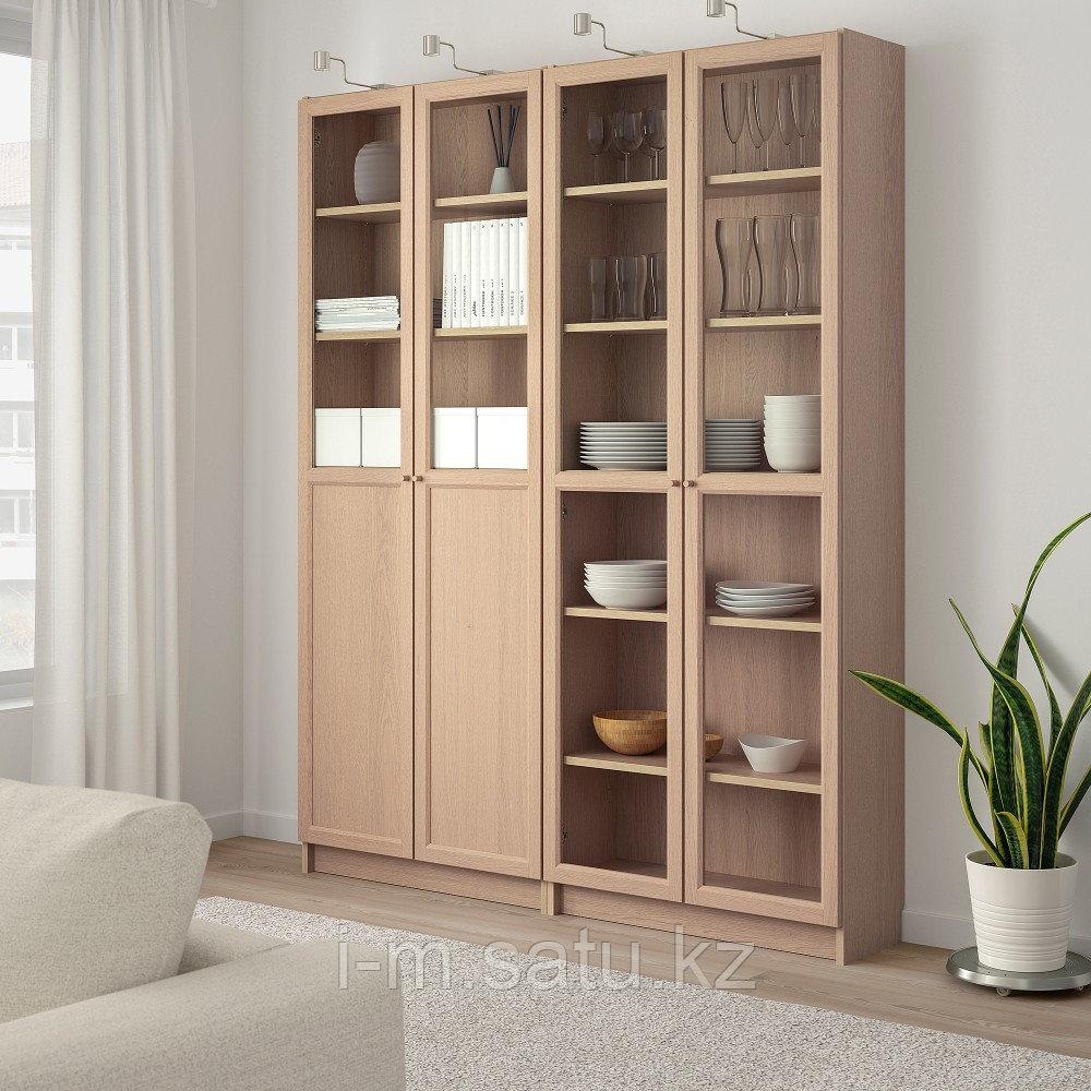 БИЛЛИ / ОКСБЕРГ Стеллаж/панельные/стеклянные двери, дубовый шпон, беленый, стекло, 160x30x202 см