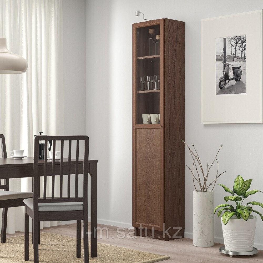 БИЛЛИ / ОКСБЕРГ Стеллаж/панельная/стеклянная дверь, коричневый ясеневый шпон, стекло, 40x30x202 см