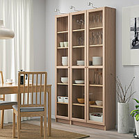 БИЛЛИ / ОКСБЕРГ Шкаф книжный со стеклянными дверьми, дубовый шпон, беленый, 120x30x202 см, фото 1