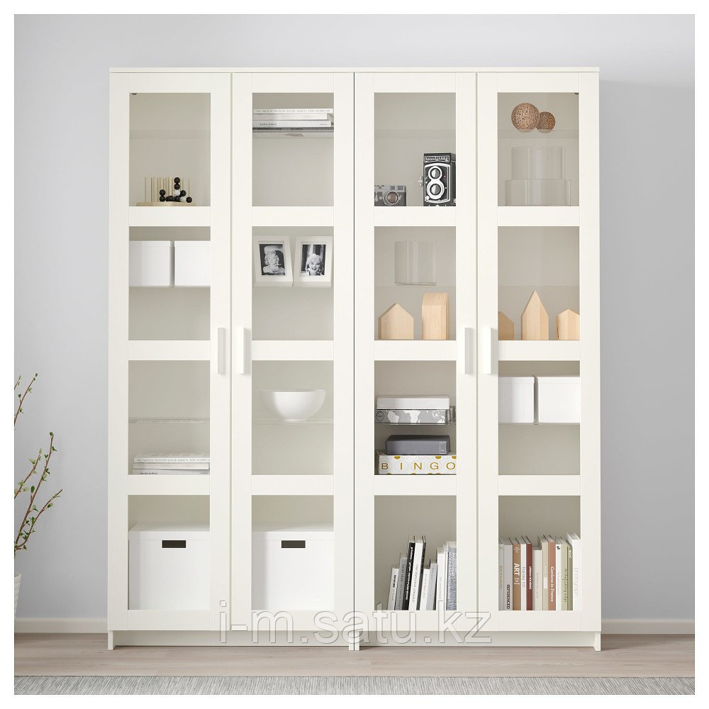 БРИМНЭС Комбинация д/хранения+стекл дверц, белый, 160x35x190 см