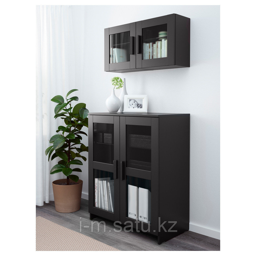 БРИМНЭС Шкаф с дверями, стекло, черный, 78x95 см