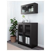 БРИМНЭС Шкаф с дверями, стекло, черный, 78x95 см, фото 1