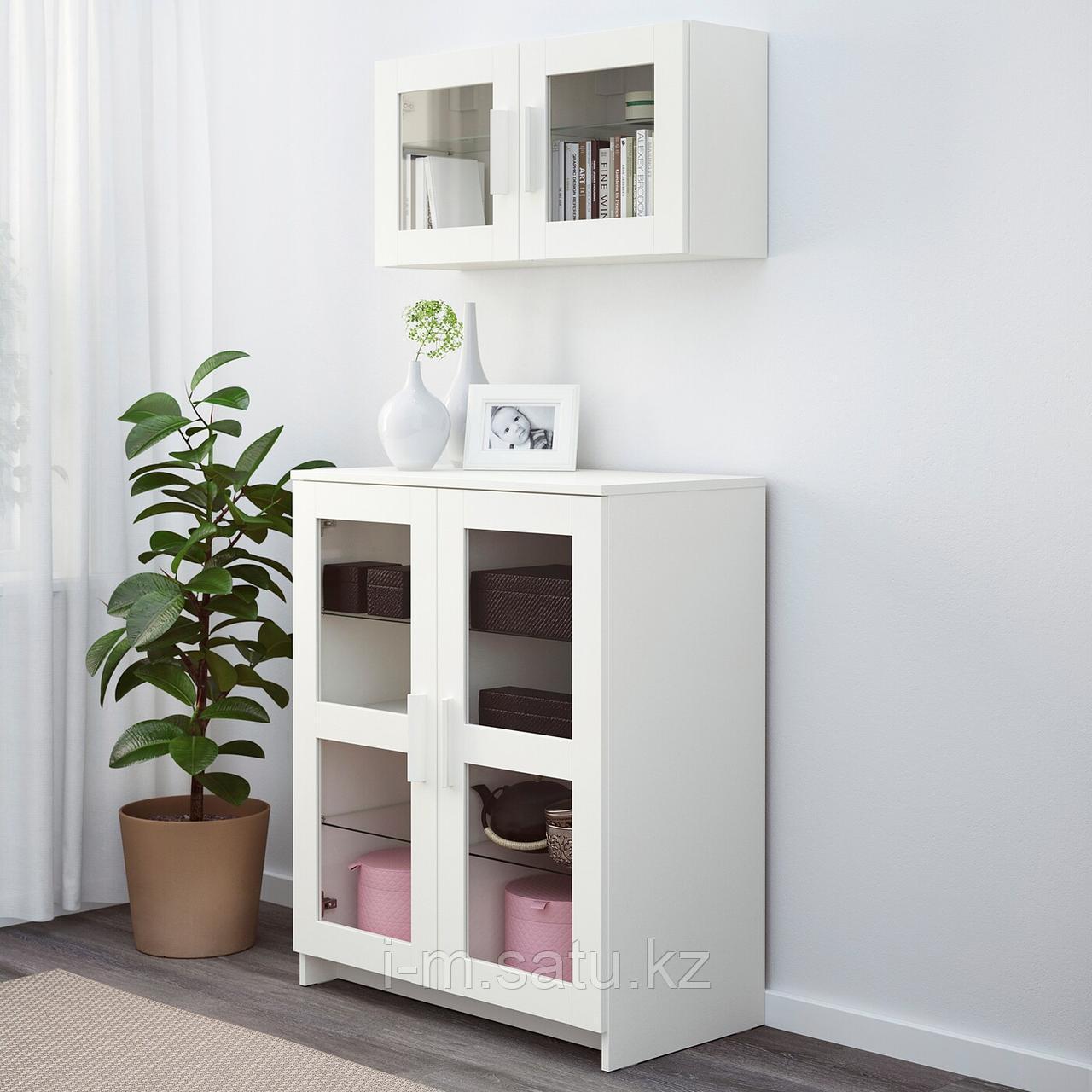 БРИМНЭС Шкаф с дверями, стекло, белый, 78x95 см