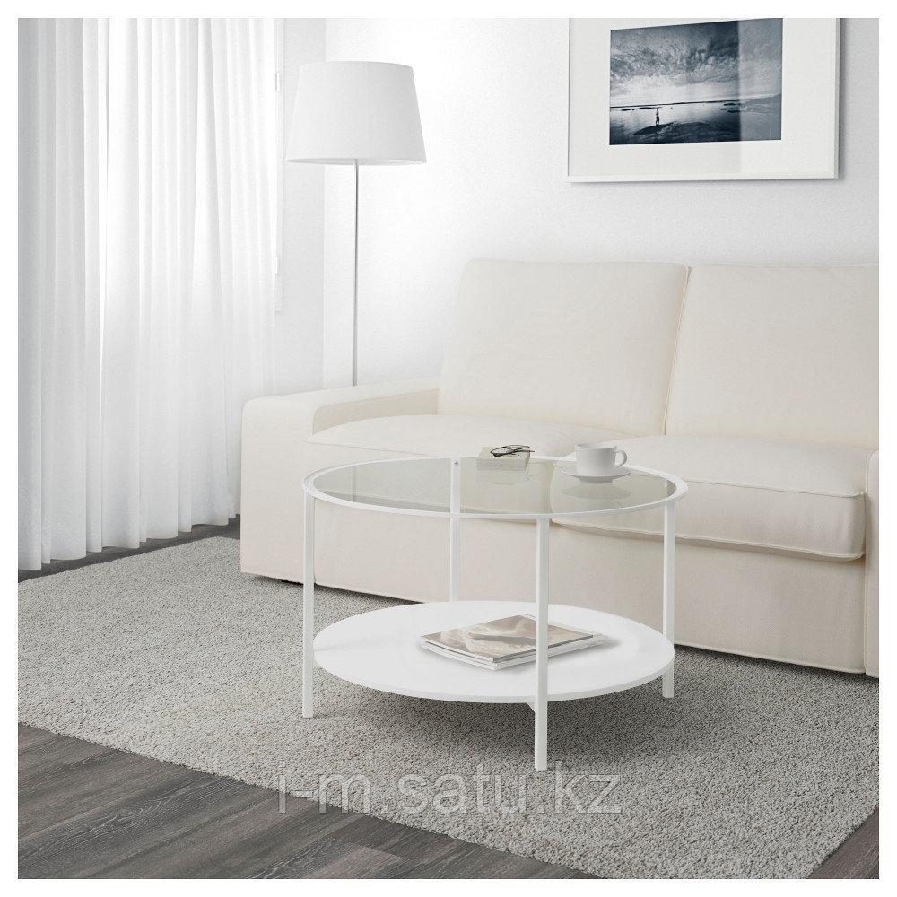 ВИТШЁ Журнальный стол, белый, стекло, 75 см