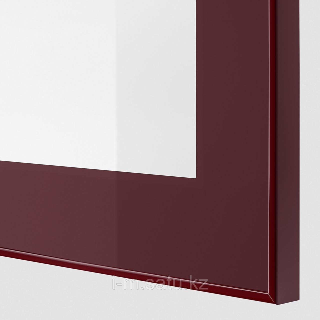 ГЛАССВИК Стеклянная дверь, темный красно-коричневый, прозрачное стекло, 60x38 см
