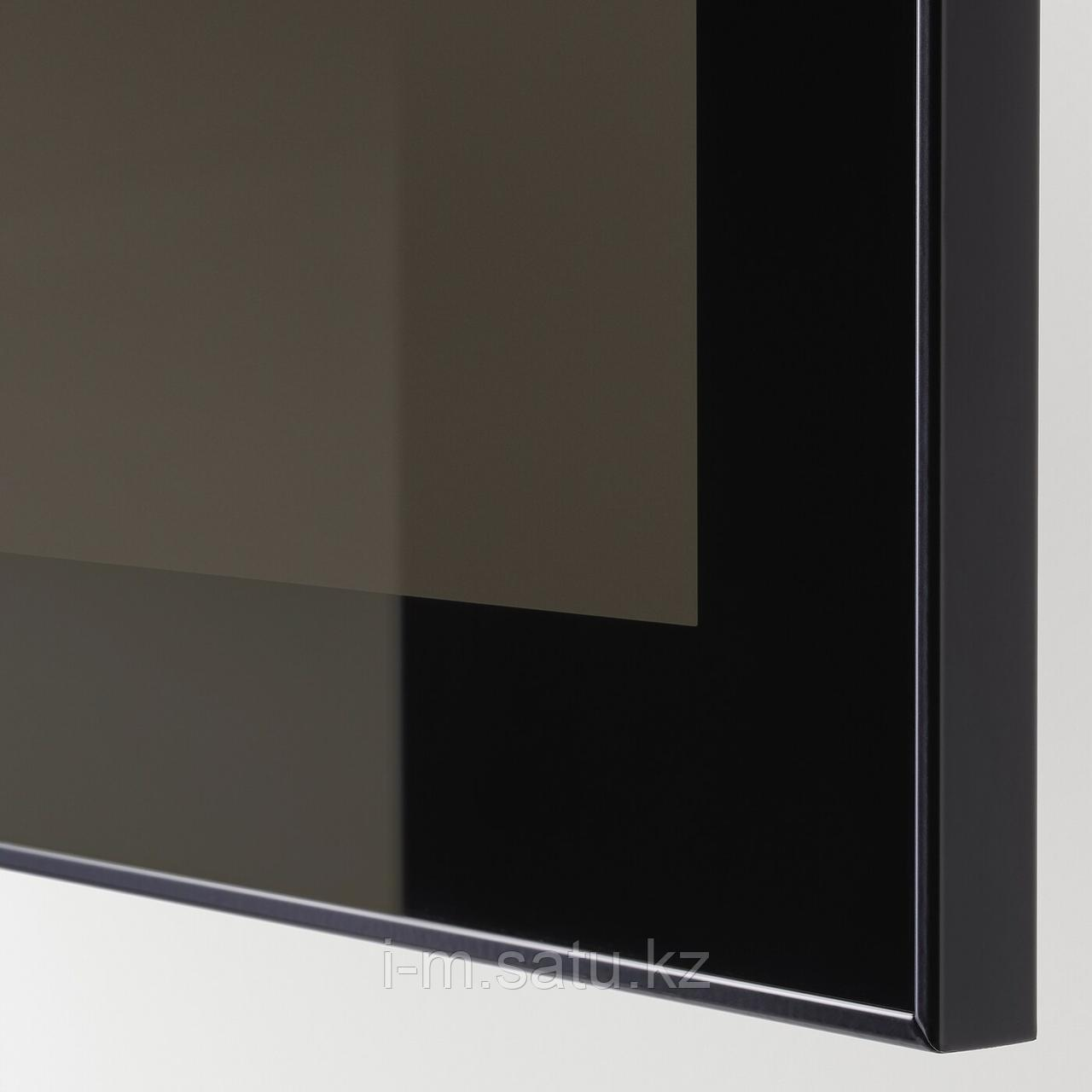 ГЛАССВИК Стеклянная дверь, черный, дымчатое стекло, 60x38 см