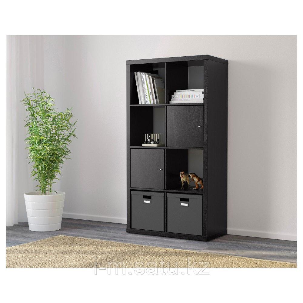 КАЛЛАКС Стеллаж, черно-коричневый, 77x147 см