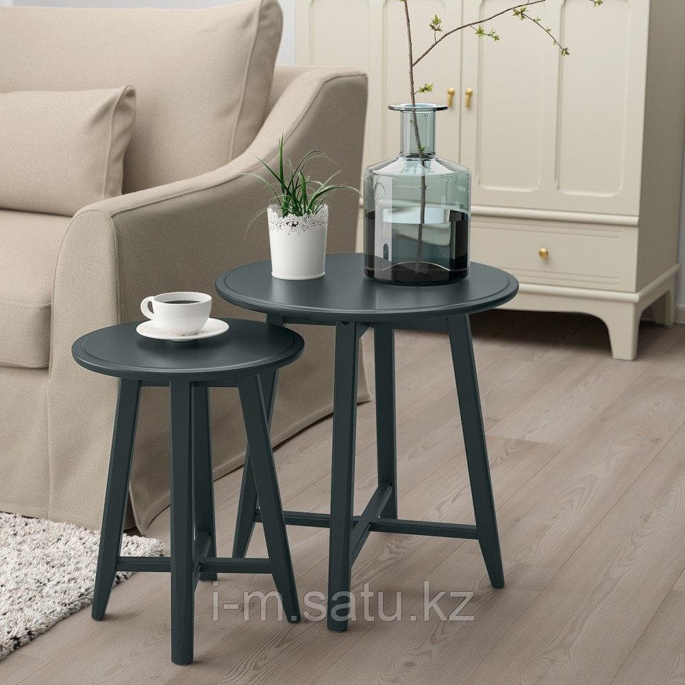 КРАГСТА Комплект столов, 2 шт, темный сине-зеленый