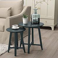 КРАГСТА Комплект столов, 2 шт, темный сине-зеленый, фото 1