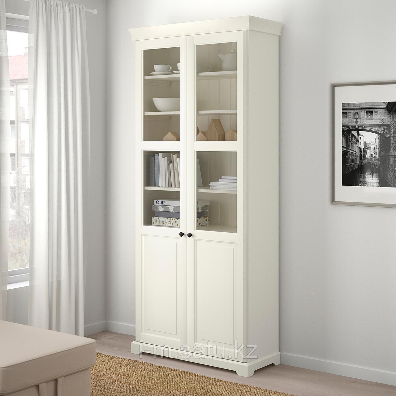 ЛИАТОРП Шкаф книжный со стеклянными дверьми, белый, 96x214 см