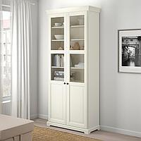 ЛИАТОРП Шкаф книжный со стеклянными дверьми, белый, 96x214 см, фото 1
