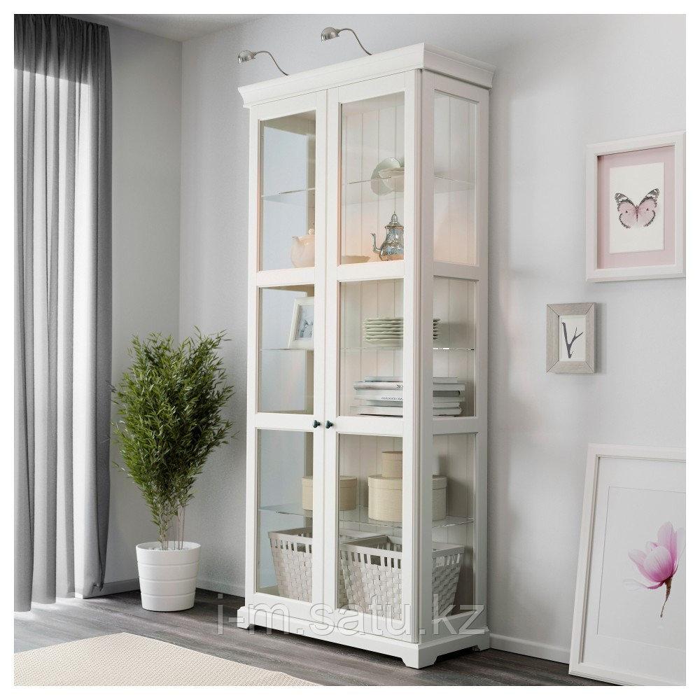 ЛИАТОРП Шкаф-витрина, белый, 96x214 см