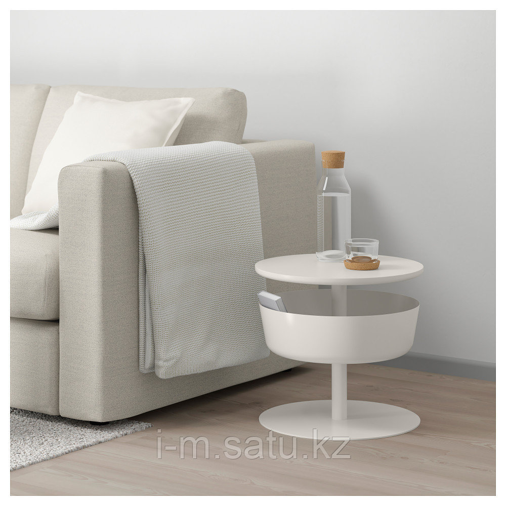 ЛИЕРСКОГЕН Столик прикроватный, белый, 42x74 см