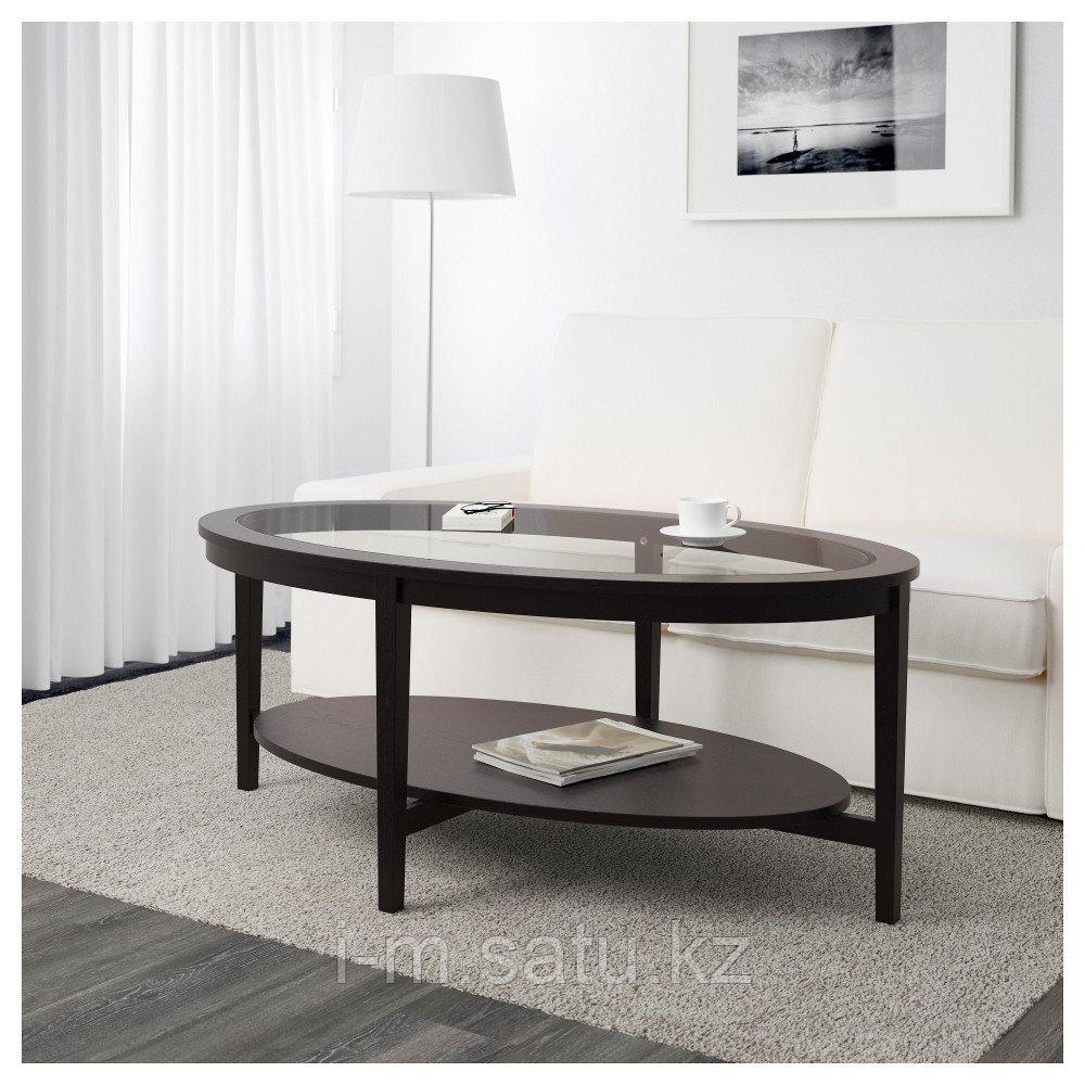 МАЛМСТА Журнальный стол, черно-коричневый, 130x80 см