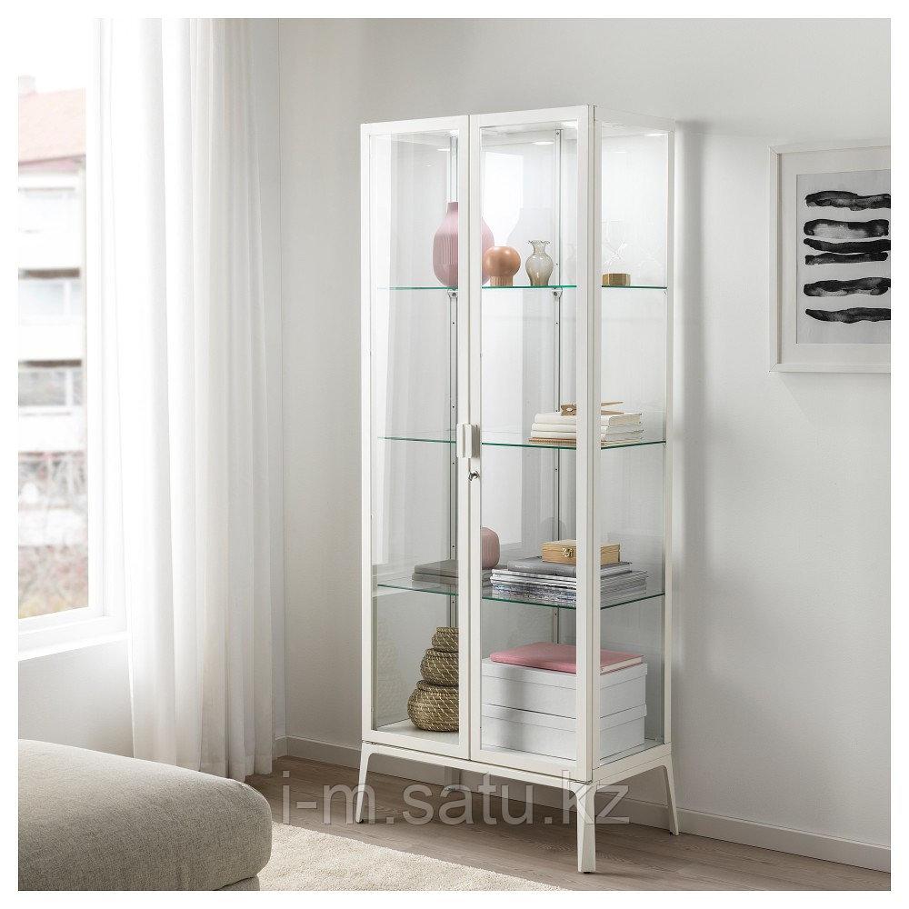 МИЛЬСБУ Шкаф-витрина, белый, 73x175 см