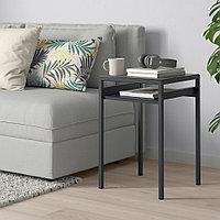НИБОДА Столик с двусторонней столешницей, темно-серый под бетон, черный, 40x40x60 см, фото 1