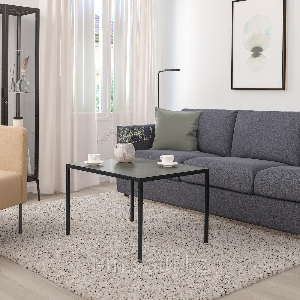 НИБОДА Журнальный стол/2-сторон столешница, темно-серый под бетон, черный, 75x60x50 см