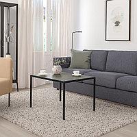 НИБОДА Журнальный стол/2-сторон столешница, темно-серый под бетон, черный, 75x60x50 см, фото 1