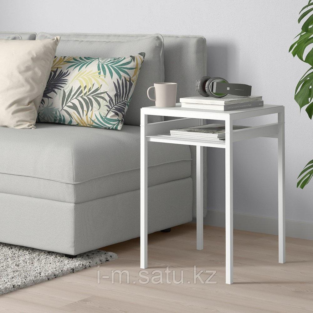 НИБОДА Столик с двусторонней столешницей, светло-серый под бетон, белый, 40x40x60 см
