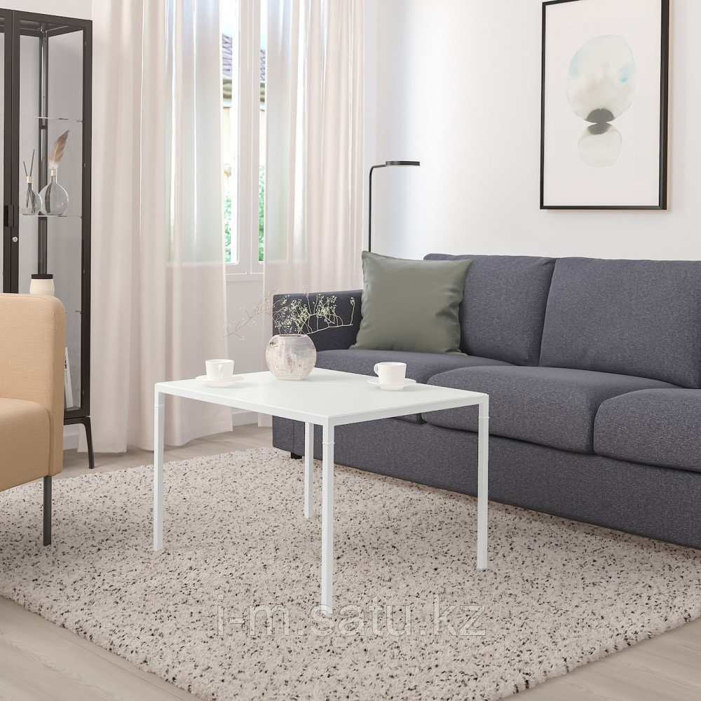 НИБОДА Журнальный стол/2-сторон столешница, светло-серый под бетон, белый, 75x60x50 см