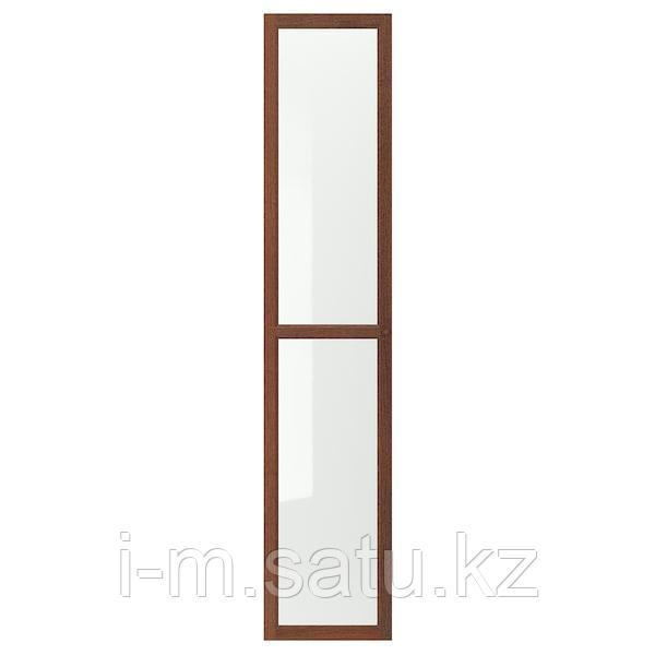 ОКСБЕРГ Стеклянная дверь, коричневый ясеневый шпон, 40x192 см