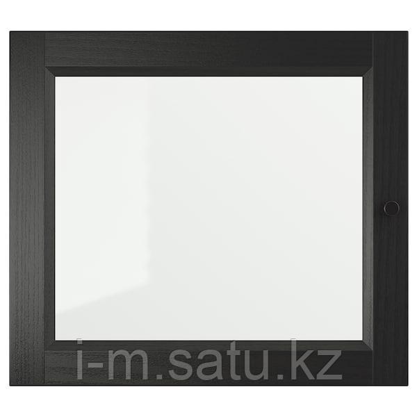 ОКСБЕРГ Стеклянная дверь, черно-коричневый, 40x35 см