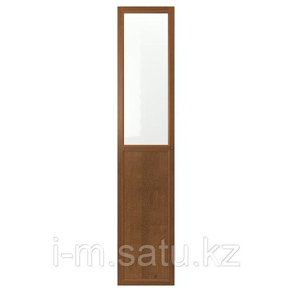 ОКСБЕРГ Панельн/стеклян дверца, коричневый ясеневый шпон, 40x192 см