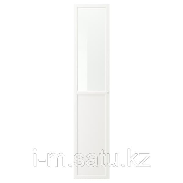ОКСБЕРГ Панельн/стеклян дверца, белый, 40x192 см