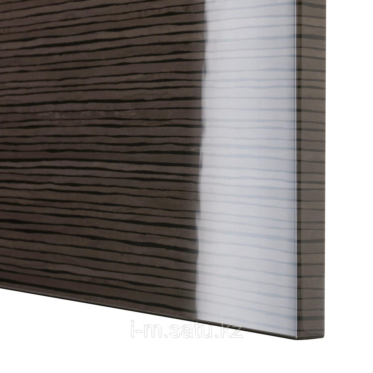 СЕЛЬСВИКЕН Дверь, глянцевый с рисунком коричневый, 60x64 см