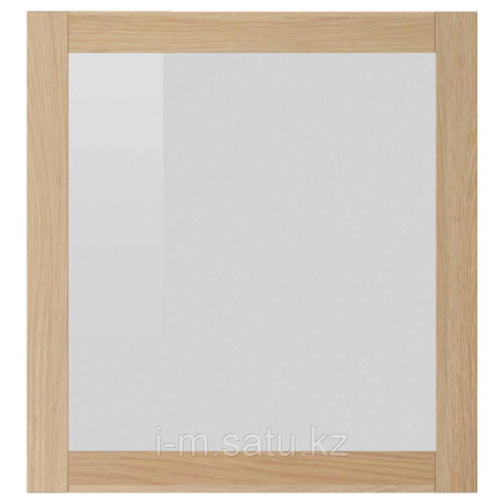 СИНДВИК Стеклянная дверь, под беленый дуб, прозрачное стекло, 60x64 см