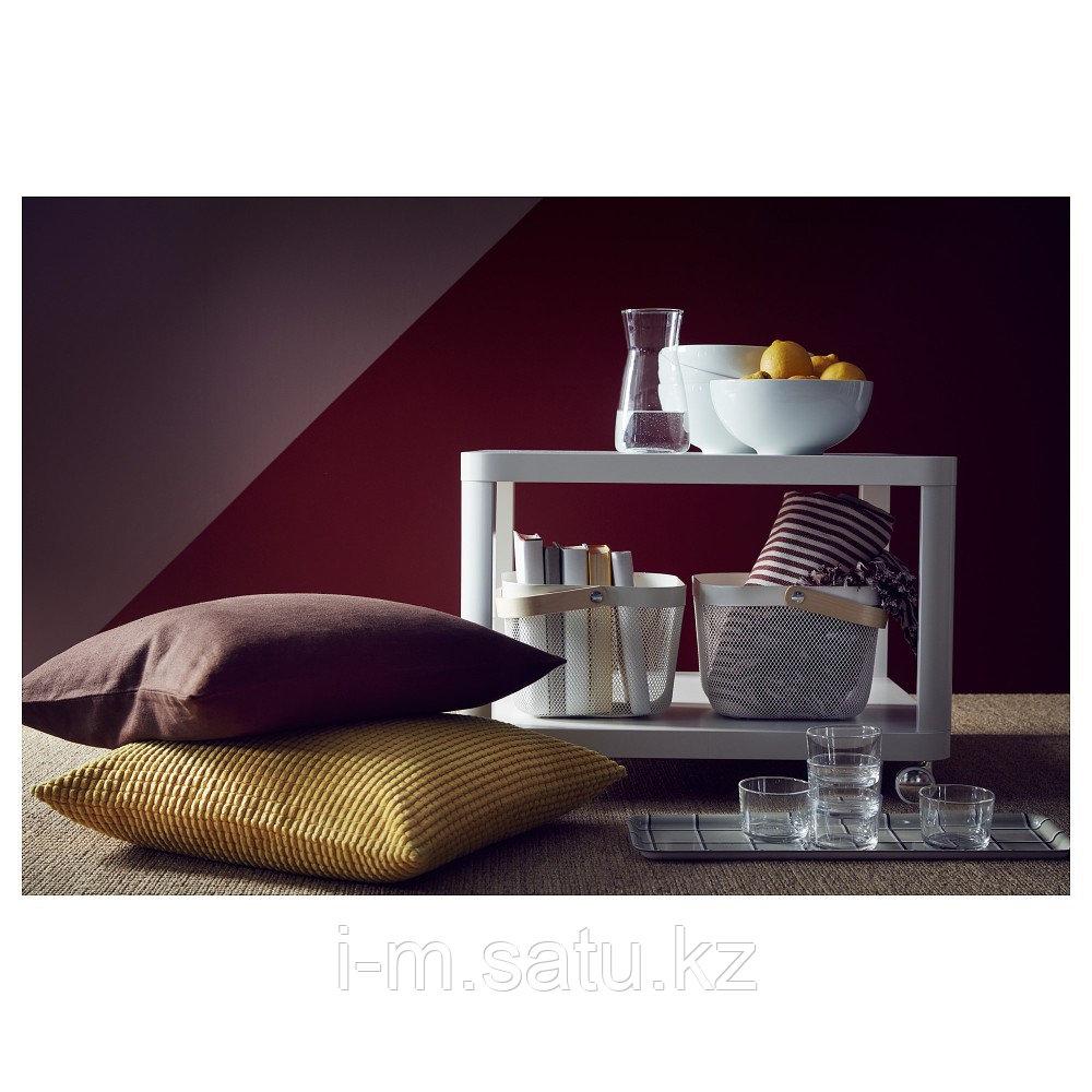ТИНГБИ Стол приставной на колесиках, белый, 64x64 см