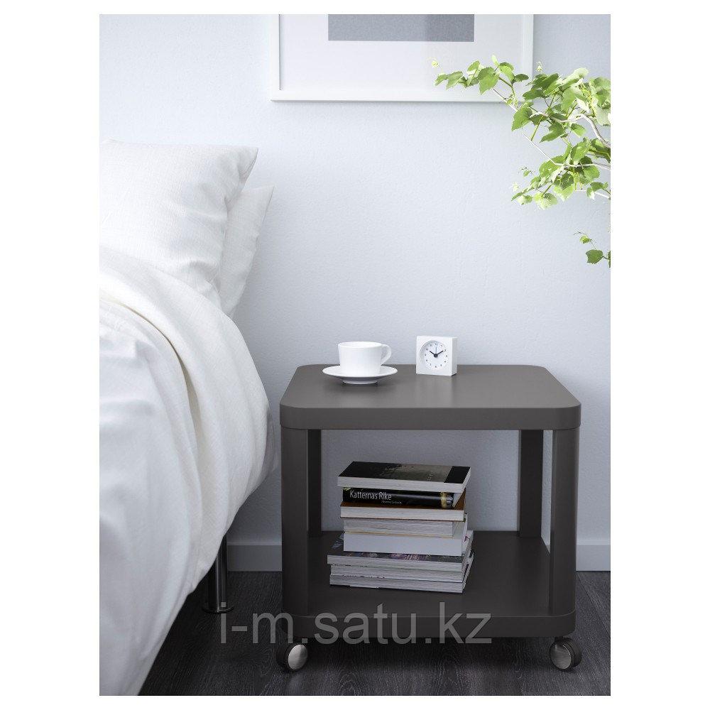 ТИНГБИ Стол приставной на колесиках, серый, 50x50 см