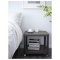 ТИНГБИ Стол приставной на колесиках, серый, 50x50 см, фото 1