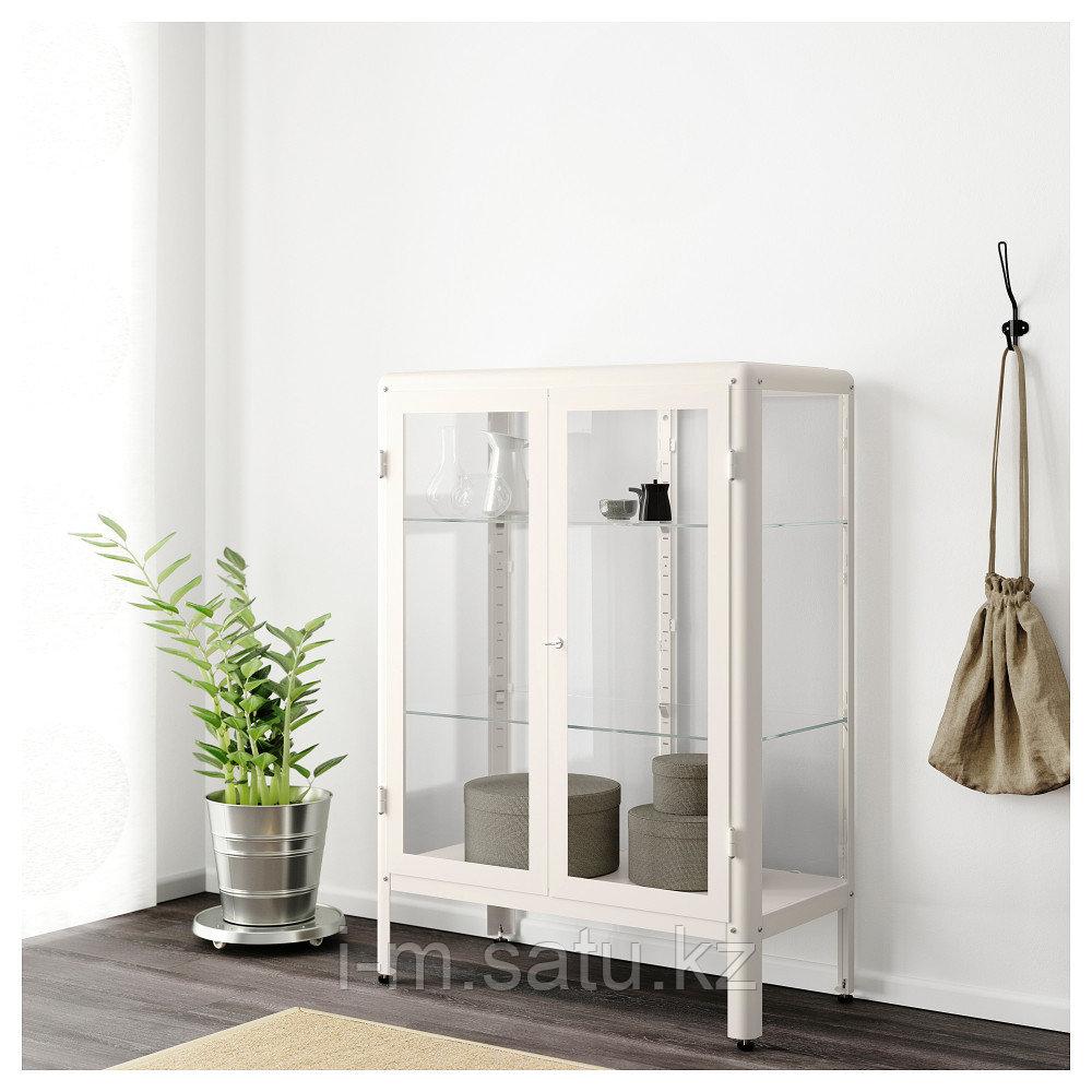 ФАБРИКОР Шкаф-витрина, белый, 81x113 см