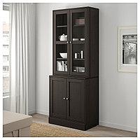 ХАВСТА Комбинация для хранения с сткл двр, темно-коричневый, 81x47x212 см, фото 1