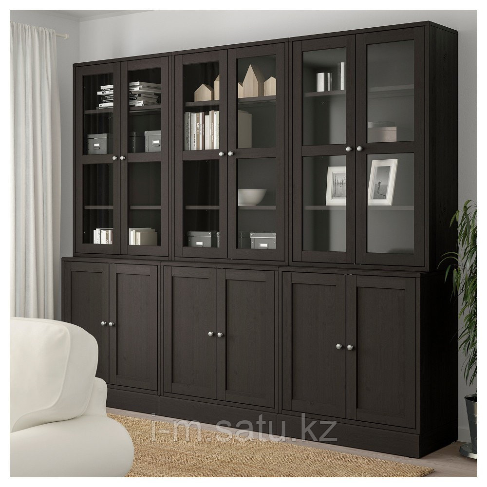 ХАВСТА Комбинация для хранения с сткл двр, темно-коричневый, 243x47x212 см