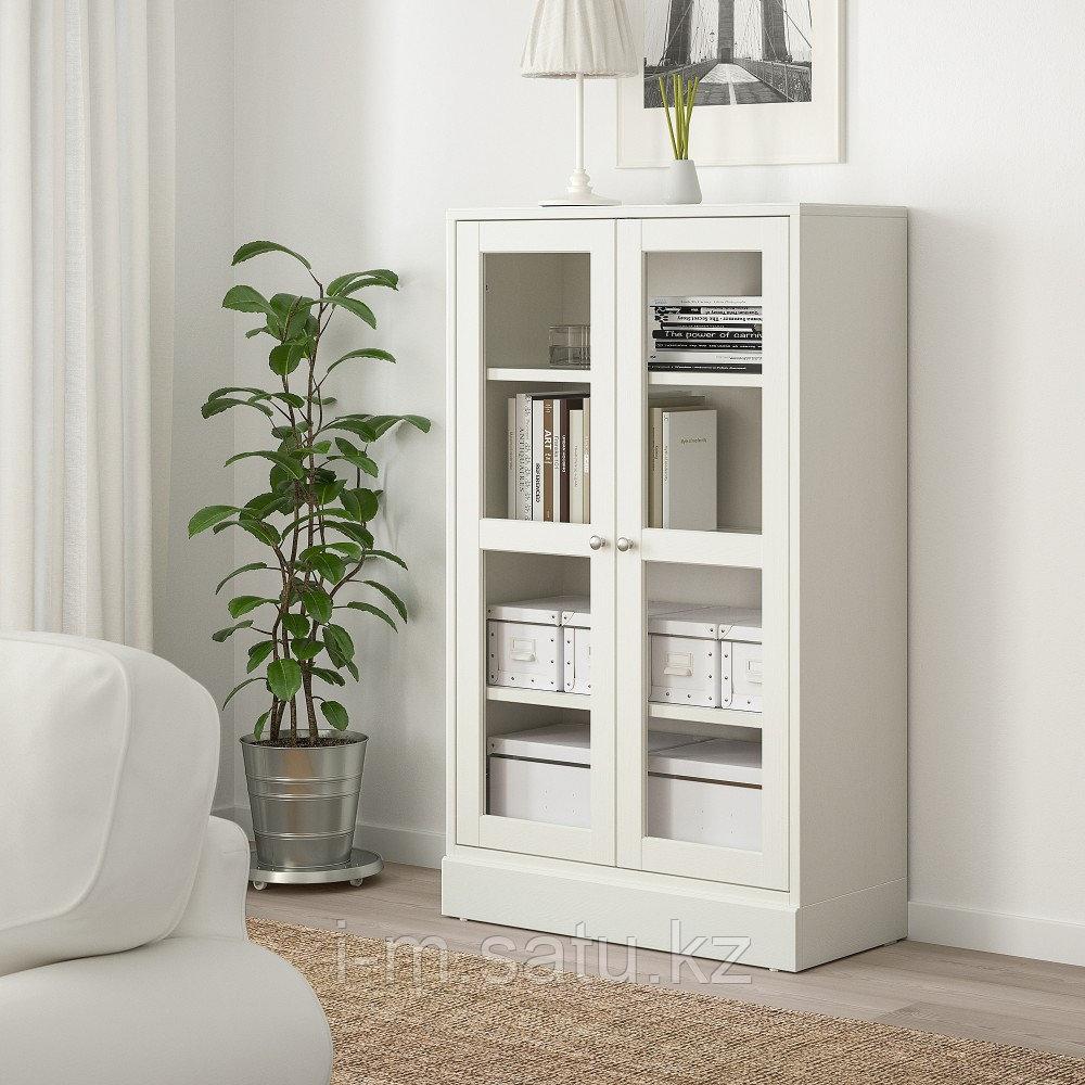 ХАВСТА Шкаф-витрина с цоколем, белый прозрачное стекло, 81x37x134 см