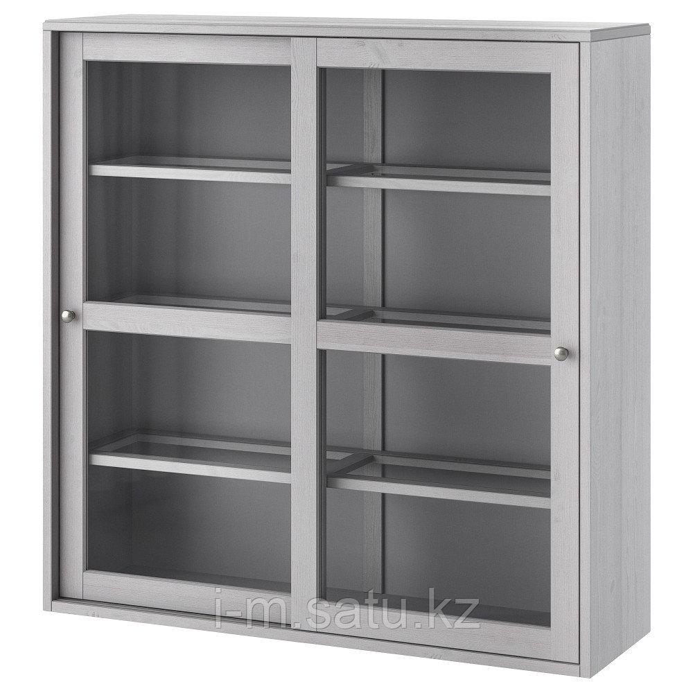 ХАВСТА Шкаф-витрина, серый, 121x35x123 см
