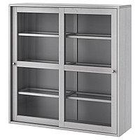 ХАВСТА Шкаф-витрина, серый, 121x35x123 см, фото 1