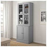 ХАВСТА Комбинация для хранения с сткл двр, серый, 81x47x212 см, фото 1