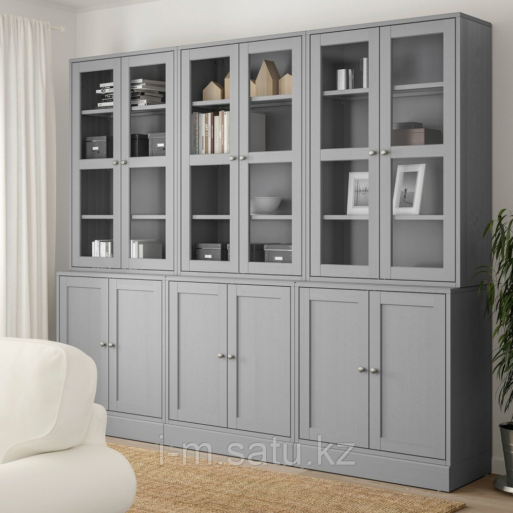 ХАВСТА Комбинация для хранения с сткл двр, серый, 243x47x212 см