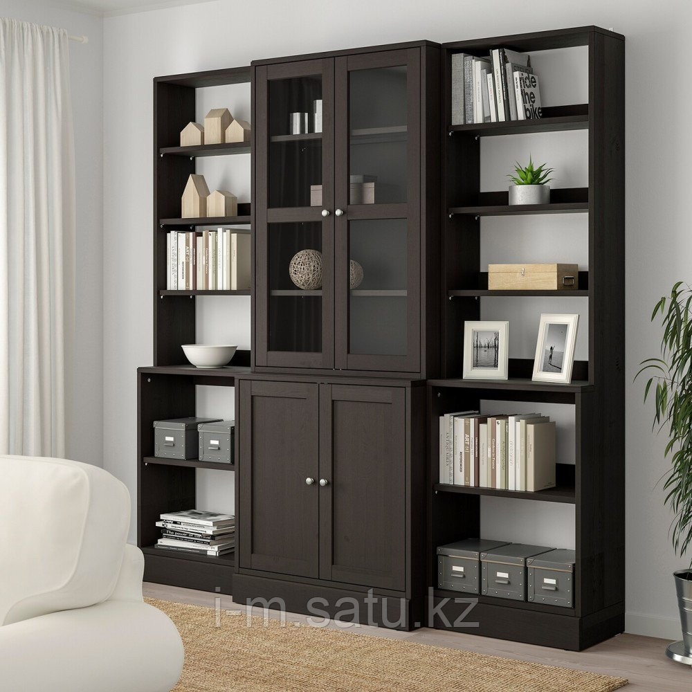 ХАВСТА Комбинация д/хранения+стекл дверц, темно-коричневый, 203x47x212 см
