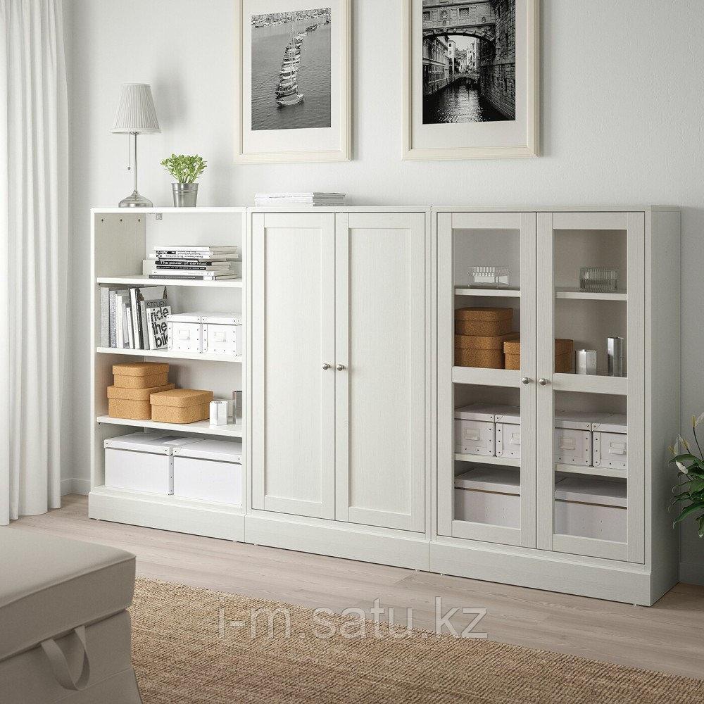 ХАВСТА Комбинация для хранения с сткл двр, белый, 243x37x134 см
