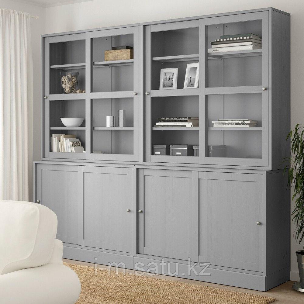 ХАВСТА Комбинация с раздвижными дверьми, серый, 242x47x212 см