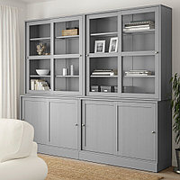 ХАВСТА Комбинация с раздвижными дверьми, серый, 242x47x212 см, фото 1