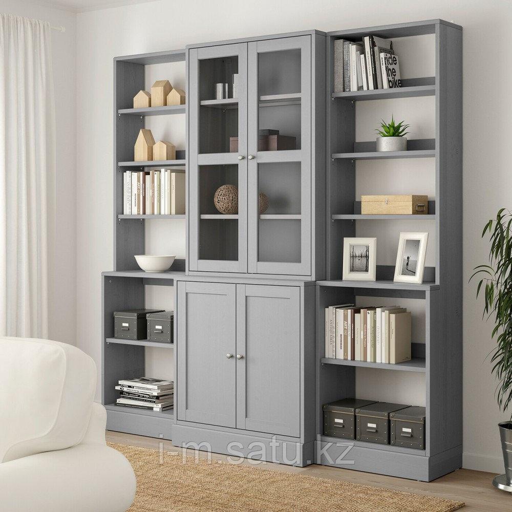 ХАВСТА Комбинация д/хранения+стекл дверц, серый, 203x47x212 см
